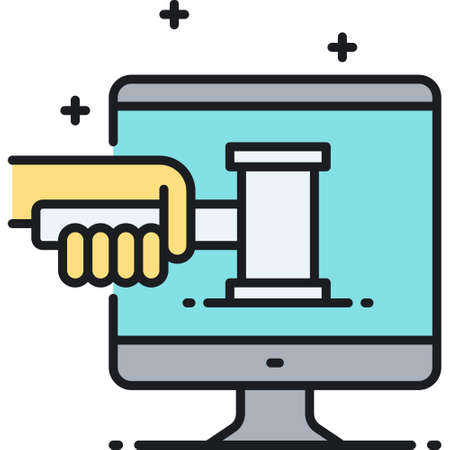Line vector icon illustration of hand holding judge hammer on pc screen, digital law concept