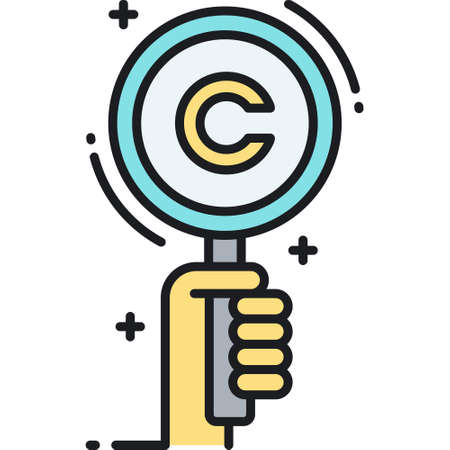 Line vector icon illustration of search records. A hand looking for copyright symbol with magnifying glass.
