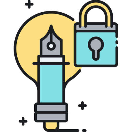 Line vector icon illustration of a fountain pen and padlock, protected ideas concept
