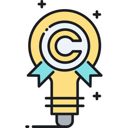 Line vector icon illustration of a bulb with copyright symbol, intellectual property concept