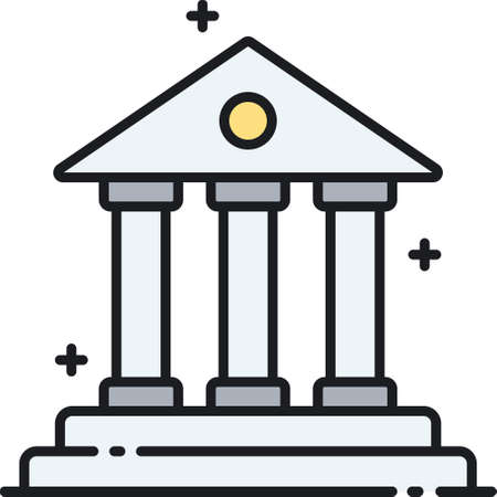 Outline vector icon of a courthouse illustration