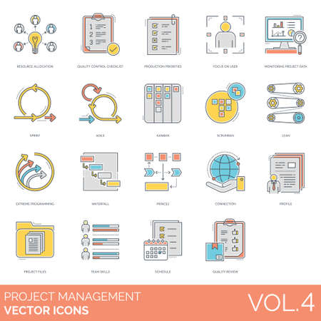 Projektmanagement-Symbole einschließlich Ressourcenzuweisung, Qualitätskontroll-Checkliste, Produktionsprioritäten, Fokus auf Benutzer, Überwachungsdaten, Sprint, Agil, Kanban, Scrumban, Lean, extreme Programmierung, Wasserfall, Prince2, Verbindung, Profil, Dateien, Teamfähigkeiten, Zeitplan, Qualität Überprüfung.