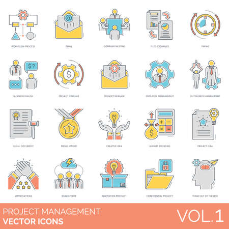 Project management icons including workflow process, email, company meeting, file exchange, timing, business dialog, project revenue, message, employee management, outsource, legal document, medal award, creative idea, budget spending, appreciations, brainstorm, innovation product, confidential, think out of the box.