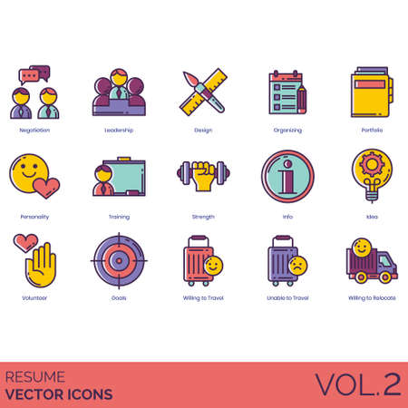 Resume icons including negotiation, leadership, design, organizing, portfolio, personality, training, strength, info, idea, volunteer, goals, willing to travel, unable, relocate. Illustration