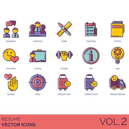 Resume icons including negotiation, leadership, design, organizing, portfolio, personality, training, strength, info, idea, volunteer, goals, willing to travel, unable, relocate. Illustration