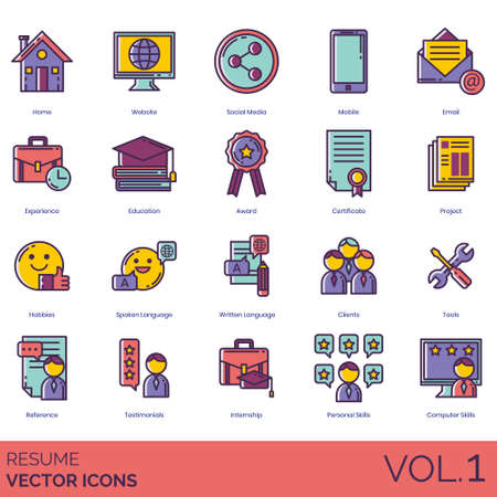 Resume icons including home, website, social media, mobile, email, experience, education, award, certificate, project, hobbies, spoken language, written, clients, tools, reference, testimonials, internship, personal skills, computer. Illustration