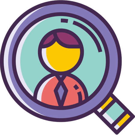 Vector line icon of a job seeker looking for a candidate through magnifying glass illustration
