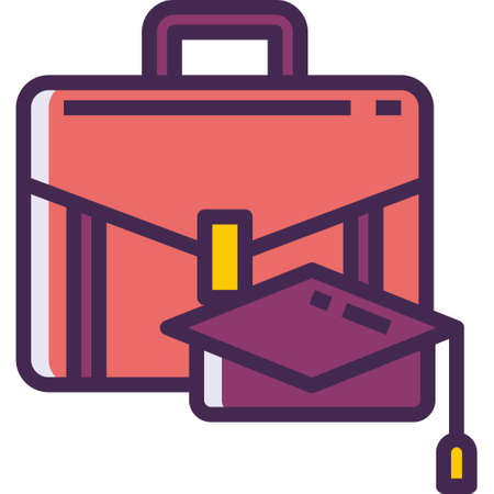 Outline vector icon of a briefcase and graduate cap, internship concept illustration Illustration