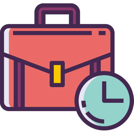 Vector line icon of a briefcase and a clock illustration, work experience concept Illustration