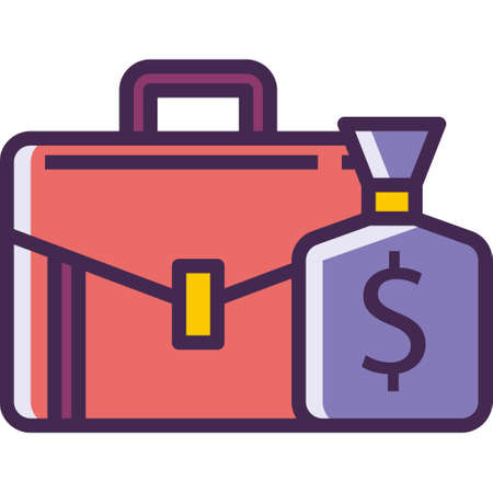 Vector line icon of a briefcase and a money bag illustration, expected salary concept