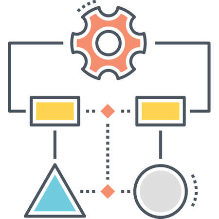 Line vector icon of workflow process diagram illustration Ilustrace