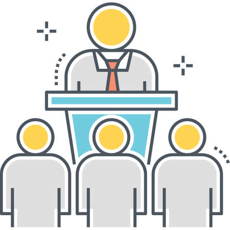 Line vector icon of a businessman giving a seminar to audience illustration