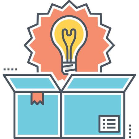 Icono de vector de línea de una bombilla apareció en la ilustración de la caja, concepto de producto de innovación