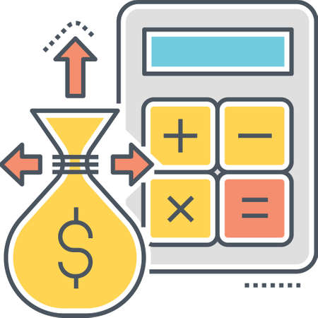 Line vector icon of calculator and money bag outgoing expenses illustration, budget spending concept