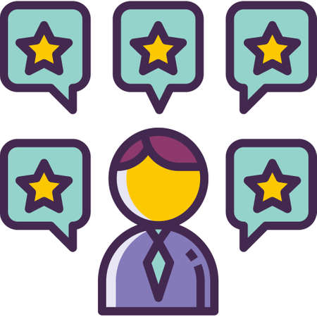Outline vector icon illustration of a man surrounded by chat bubbles with star symbol, personal skills concept