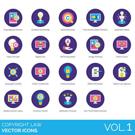 Copyright law icons including artwork, creative authorship, search records, free access open content, inspiration, fake concept, digital, borrowing ideas, image sharing, online court, conflict, trademark, protected, DMCA file notice, agency, media types, invention patent, arbitration process, non-profit public domain.