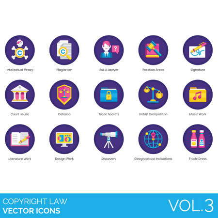 Copyright law icons including intellectual piracy, plagiarism, ask a lawyer, practice areas, signature, courthouse, defense, trade secrets, unfair competition, music work, literature, design, discovery, geographical indications, dress.