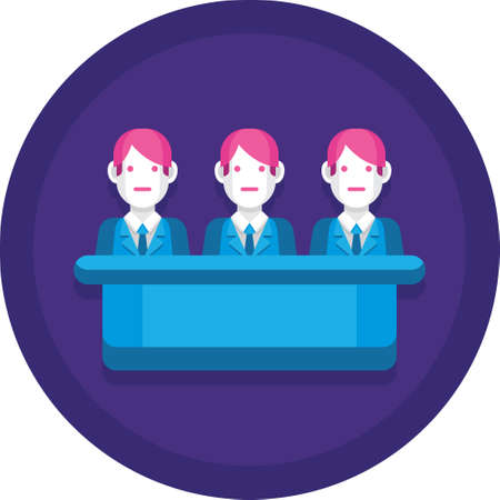 Flat vector icon of three jurors sitting illustration, jury trial concept Illustration
