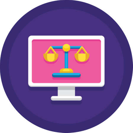 Flat vector icon of justice scale on computer screen, online court illustration concept