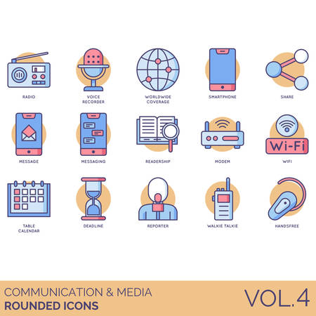 Communication and media icons including radio, voice recorder, worldwide coverage, smartphone, share, message, messaging, readership, modem, wifi, table calendar, deadline, reporter, walkie talkie, handsfree.