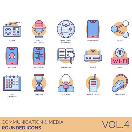 Iconos de comunicación y medios que incluyen radio, grabadora de voz, cobertura mundial, teléfono inteligente, compartir, mensaje, mensajería, lectores, módem, wifi, calendario de mesa, fecha límite, reportero, walkie talkie, manos libres.