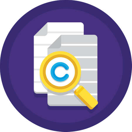 Vector flat icon of copied documents and magnifying glass with copyright symbol. Plagiarism illustration concept.