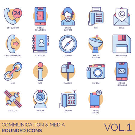 Communication and media icons including 24h support, mobile solutions, online, fax, email, call forwarding, contacts, compass, earth station, floppy disk, link, info, mailbox, camera, messaging, satellite, webcam, landline, phone signal. Ilustrace