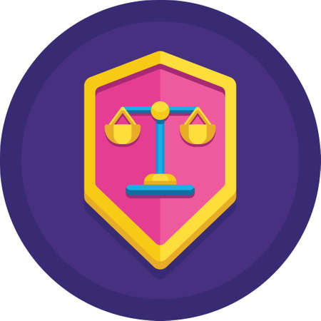 Vector flat icon of a shield with justice scale. Legal defense illustration concept. Illustration