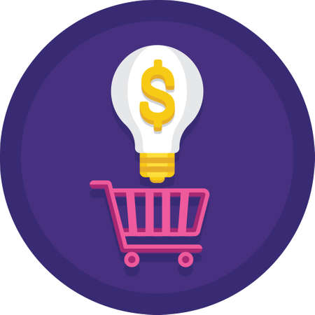 Vector flat icon of bulb with dollar sign on a cart, buying idea illustration concept  イラスト・ベクター素材