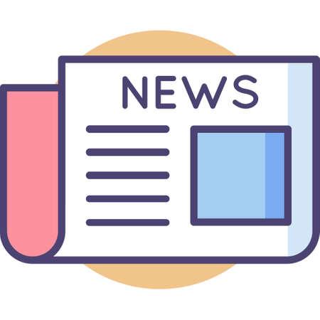 Vector outline icon illustration of news headline newspaper Illusztráció