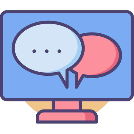Vector outline icon illustration of computer screen with conversation bubbles, desktop messaging concept