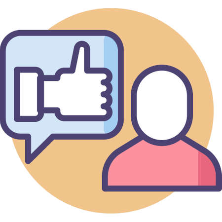 Vector outline icon illustration of people gives thumb up to a man, get feedback concept Ilustrace