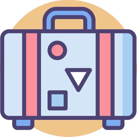 Line vector icon illustration of a retro suitcase