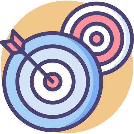 Line vector icon illustration of two targets and arrow, short term goals concept