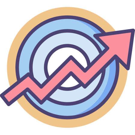 Line vector icon illustration of rising arrow on target, long term goals concept Vektoros illusztráció