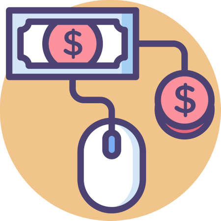 Line vector icon illustration of pay per click concept. A computer mouse with money.