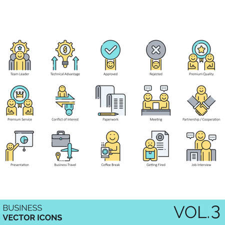 Business icons including team leader, technical advantage, approved, rejected, premium quality, service, conflict of interest, paperwork, meeting, partnership, cooperation, presentation, business travel, coffee break, getting fired, job interview.