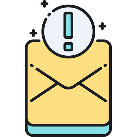 Vector line icon of envelop with exclamation mark, important mail illustration concept