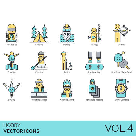 Hobby icons including kart racing, camping, boat, fishing, archery, traveling, kayak, golf, skateboard, table tennis, bowling, watching movie, anime, tarot card reading, online gambling.