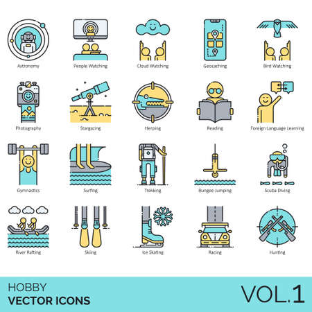 Hobby icons including astronomy, people watching, cloud, geocaching, bird, photography, stargazing, herping, reading, foreign language learning, gymnastics, surfing, trekking, bungee jumping, scuba diving, river rafting, skiing, ice skating, racing, hunting. Иллюстрация