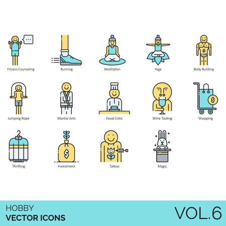 Hobby icons including fitness counseling, running, meditation, yoga, bodybuilding, jumping rope, martial arts, food critic, wine tasting, shopping, thrifting, investment, tattoo, magic.