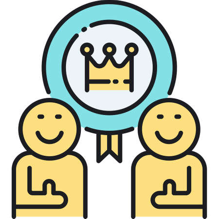 Line vector icon of two people give thumbs up and a badge with crown. Premium service illustration concept.