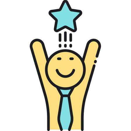 Line vector icon of excited businessman raising his hands up. Promotion illustration concept.