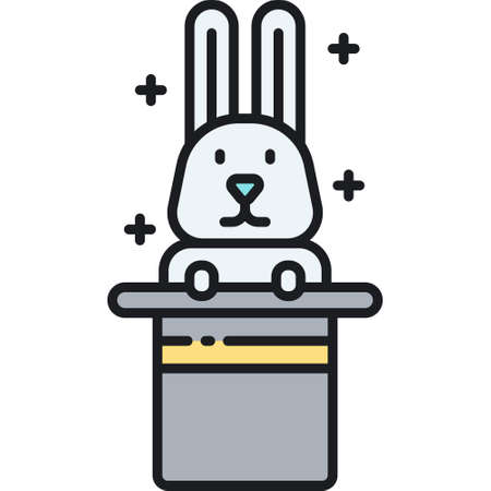 Vector line icon of a rabbit in magic hat illustration