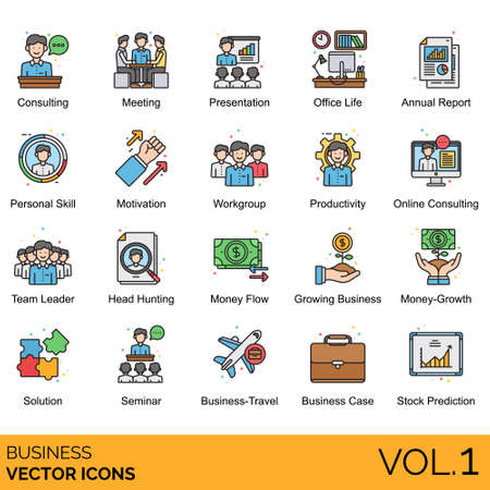 Business icons including consulting, meeting, presentation, office life, annual report, personal skill, motivation, workgroup, productivity, online, team leader, head hunting, money flow, growing, growth, solution, seminar, travel, case, stock prediction.