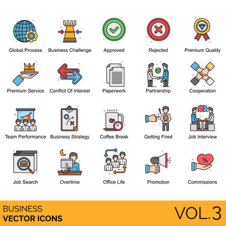 Business icons including global process, challenge, approved, rejected, premium quality, service, conflict of interest, paperwork, partnership, cooperation, team performance, strategy, coffee break, getting fired, interview, job search, overtime, office life, promotion, commissions. Illustration