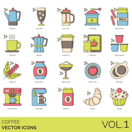 Coffee icons including percolator, iced, french press, mill, sugar, milk, cup, moka pot, to go, app, capsules, tree, instant, cocktail, love, pods, machine, maker, pack, croissant, cupcake.