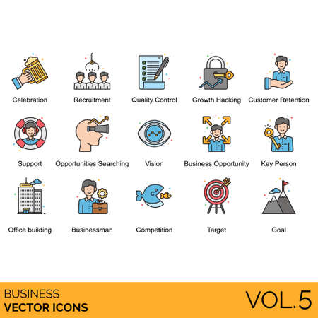 Business icons including celebration, recruitment, quality control, growth hacking, customer retention, support, searching, vision, opportunity, key person, office building, businessman, competition, target, goal.