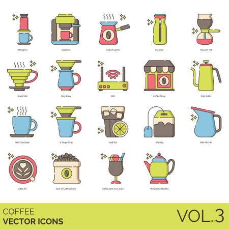 Coffee icons including aeropress, espresso, turkish cezve, eva solo, vacuum pot, hario v60, drip brew, wifi, shop, kettle, hot chocolate, v shape, iced tea, bag, milk pitcher, latte art, sack of beans, ice cream, vintage.