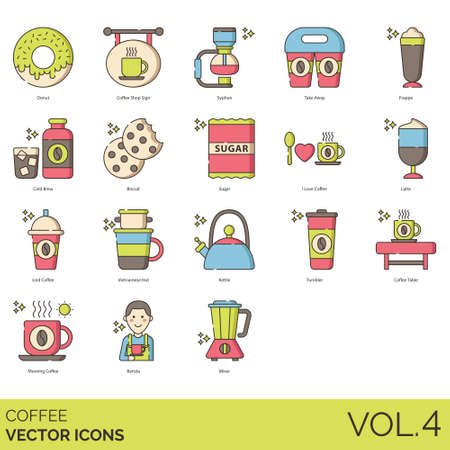 Coffee icons including donut, shop sign, syphon, take away, frappe, cold brew, biscuit, sugar, i love, latte, iced, vietnamese hot, kettle, tumbler, table, morning, barista, mixer.